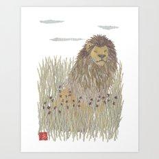 Lion, African Animal, Savanna, Safari, Wildlife Art Print