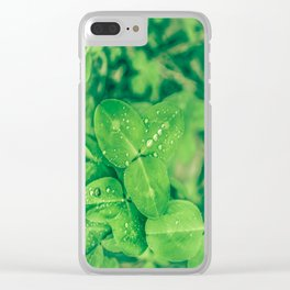 Clover leaf in the rain Clear iPhone Case