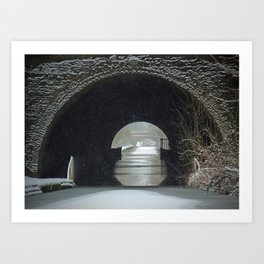 Snowing on the Oxford Canal Newbold Tunnel  Art Print