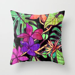 Tropical leaves and flowers, jungle print Throw Pillow