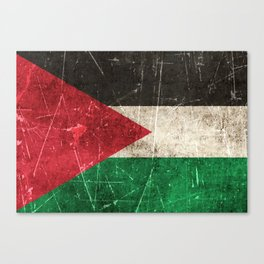 Vintage Aged and Scratched Palestinian Flag Canvas Print