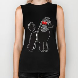 Black Standard Poodle with a Red Bow Biker Tank