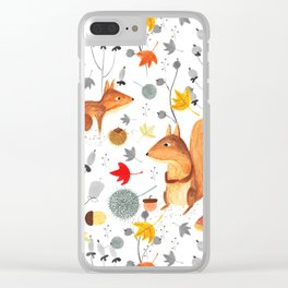 Pattern #64 - Woodland squirrels Clear iPhone Case