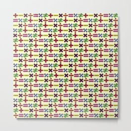 Seamless Colorful Abstract Mathematical Symbols Pattern IV Metal Print