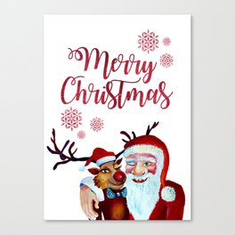 Watercolor Magical Santa Claus and Rudolf the The Red Nosed Reindeer Canvas Print