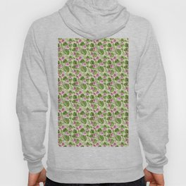 Hand painted pink green watercolor tropical monster leaves floral Hoody