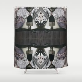 GLOW - a black and white monochromatic modern collage Shower Curtain