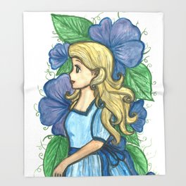 The lady in blue Throw Blanket