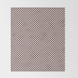 Root Beer and White Polka Dots Throw Blanket
