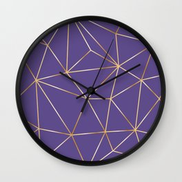ultra violet gold polygon Wall Clock