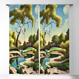 Classical Masterpiece 'Clay Country Farm' by Thomas Hart Benton Blackout Curtain