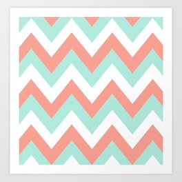 MINT & CORAL CHEVRON Art Print