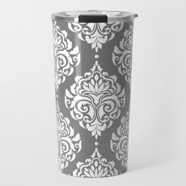 Grey Damask Travel Mug