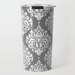 Grey Damask Travel Mug