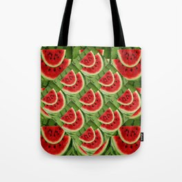CONTEMPORARY ABSTRACT RED WATERMELONS GREEN  ART Tote Bag