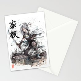 Samurai Girl with Japanese Calligraphy - Family - Ciri Parody Stationery Cards