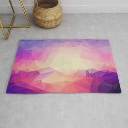 Shining Abstract Polygon Pattern Yellow, Purple, Pink, and Orange Rug