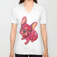 frenchie V-neck T-shirts featuring Raspberry frenchie by Ola Liola