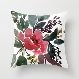 Watercolor Pink Flower Spread Throw Pillow