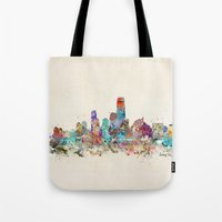 new jersey Tote Bags featuring jersey city new jersey by bri.buckley
