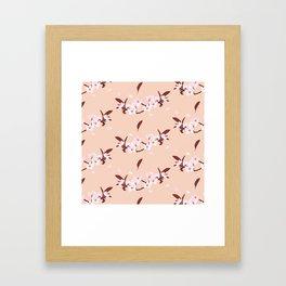 sakura flowers on peach background Framed Art Print