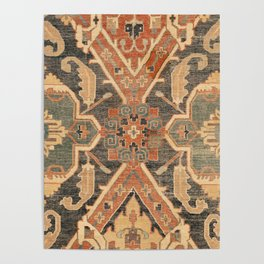 Geometric Leaves III // 18th Century Distressed Red Blue Green Colorful Ornate Accent Rug Pattern Poster