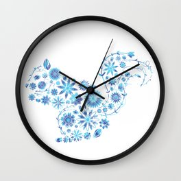 Florat Pattern Blue Squirrels Wall Clock