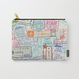 Vintage World Map with Passport Stamps Carry-All Pouch