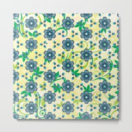 Turquoise Heptica Endless Pattern Metal Print
