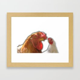 Rooseter and chiken~ happy couple Framed Art Print