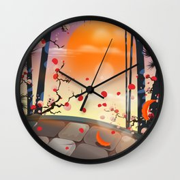 Japanese Blossom Garden Wall Clock