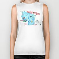 wisconsin Biker Tanks featuring WISCONSIN by Christiane Engel