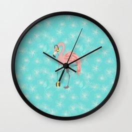 Walkman Flamingo with Hibiscus Wall Clock