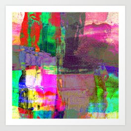 Abstract hand painted bold colors watercolor brushstrokes Art Print