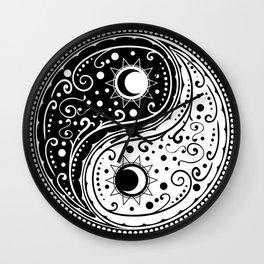 Circular ornament yin yang sign paisley design Wall Clock