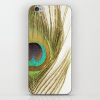 peacock feather iPhone & iPod Skins featuring Peacock Feather by Kimberly Blok