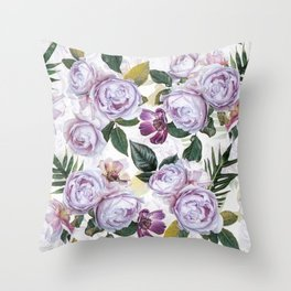 Vintage & Shabby Chic - Antique Purple Botancial Summer Roses Throw Pillow