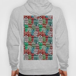 Christmas Village in Watercolor Red + Green Hoody