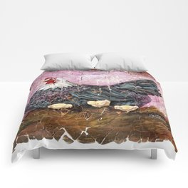 Blue Hen With Chicks Transparent Comforters