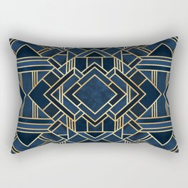 Art Deco Fancy Blue Rectangular Pillow