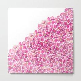 Modern pink watercolor hydrangea flowers pattern Metal Print