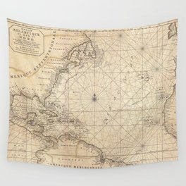 1683 Map of North America, West Indies, and Atlantic Ocean Wall Tapestry