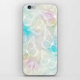 Pastel colored butterfly pattern, girly trend vintage design iPhone Skin
