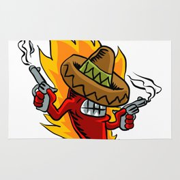 Mexican red chili pepper with guns. Rug