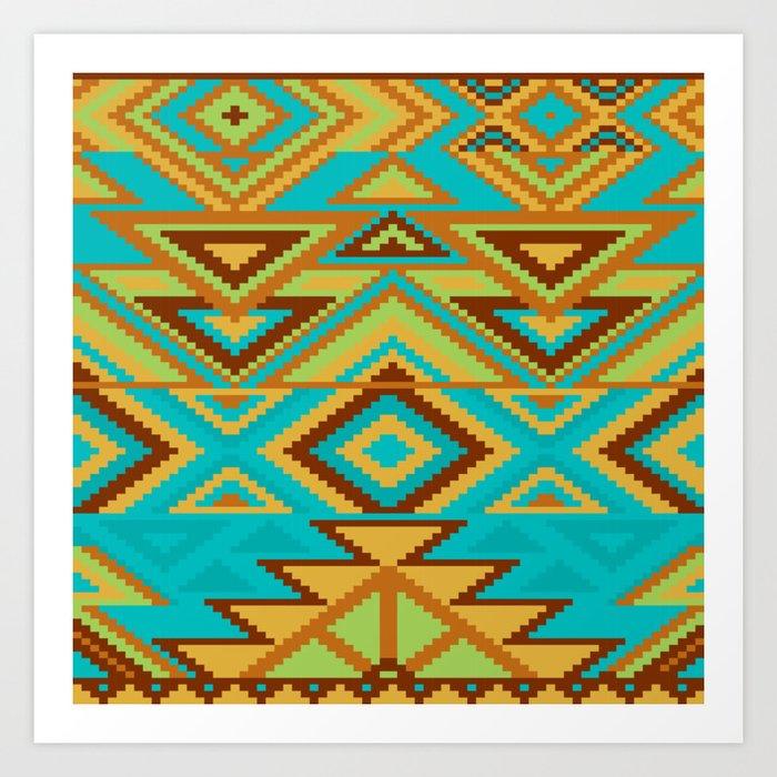 Native Aztec Turquoise Tribal Rug Pattern Kunstdrucke