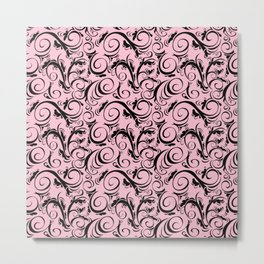 Pink & Black Flourish Pattern Metal Print