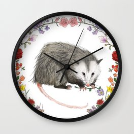 Opossum in Floral Wreath Wall Clock