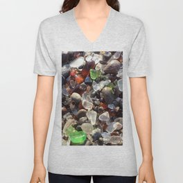 Glass beach California Unisex V-Neck