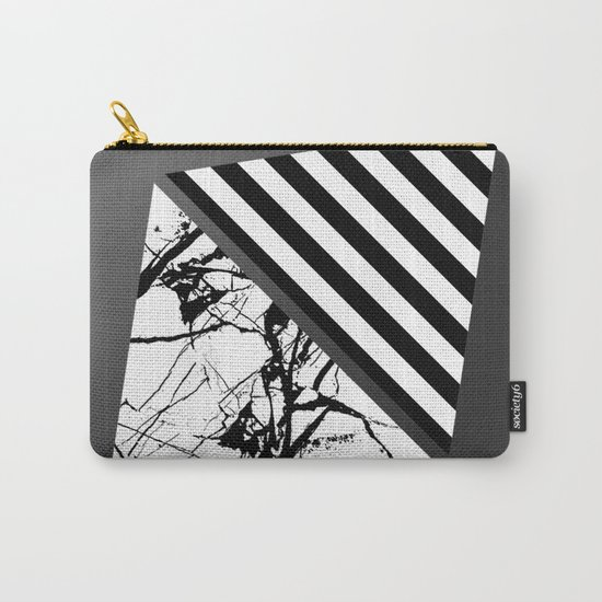 Stripes N Marble 3 - Abstract Black and white stripes and marble textured triangles on metallic Carry-All Pouch