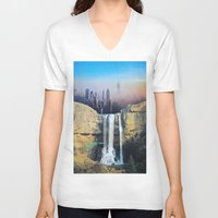 manhattan V-neck T-shirts featuring Manhattan Falls by John Turck
